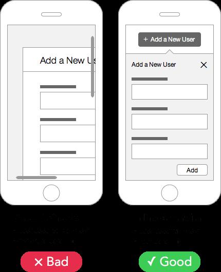 モーダルウィンドウとアコーディオン。 後者のほうが画面表示もスクロールもモバイルに適している。