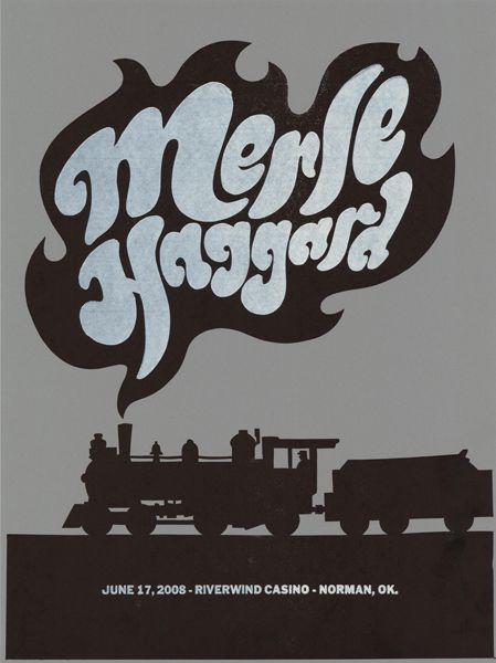 このポスターは、F2 DesignのオーナーであるDirk FowlerとCarol Fowlerによって、2008年のMerle Haggardのコンサートのために作成されたものです。