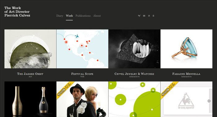 Pierrick Calvezのサイトのホーム画面