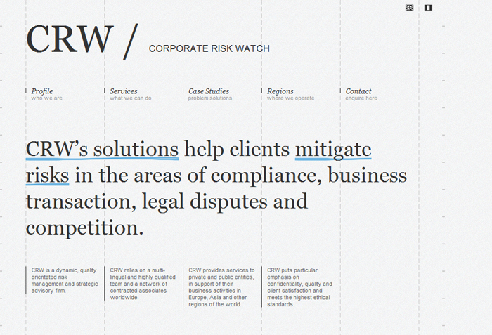 Corporate Risk Watchのサイトのホーム画面