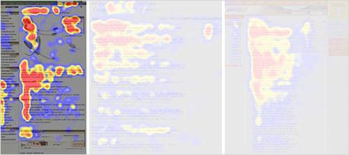 2006年、Nielsen Normanグループは何気なくコンテンツを閲覧した時のF字型のパターンを調査しました。 (拡大図を見る)