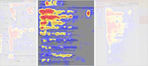 2006年、Nielsen Normanグループは目的を持ってコンテンツを閲覧した時のF字型のパターンを調査しました。 (拡大図を見る)