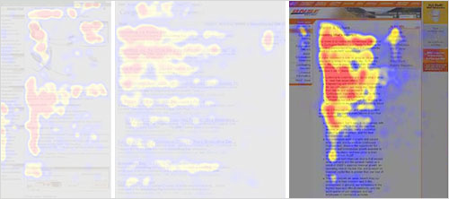 2006年、Nielsen Normanグループは積極的な姿勢でコンテンツを閲覧した時のF字型のパターンを調査しました。 (拡大図を見る)