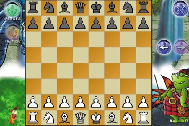 図5.5:Dinosaur Chessは、短くて情報が豊富な単位に区切られた説明によって、子どもたちにチェスの遊び方を教えています。