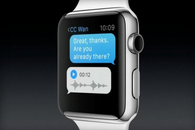Apple Watch上の音声メッセージ (情報元:The Verge)