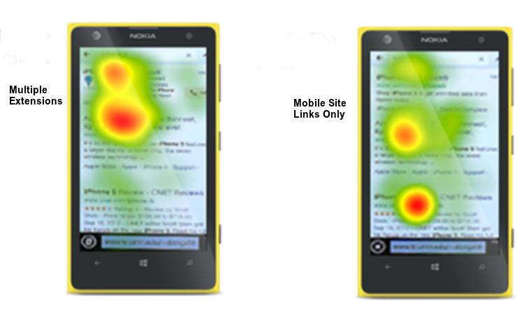 左:複数のエクステンション 右:モバイルサイトのリンクのみ