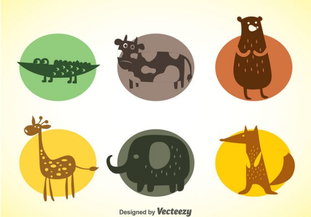 animals-colors-icons-vector-set