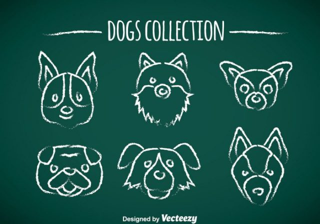 dogs-chalk-draw-icons-vector