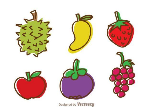 fruits-hand-draw-icons-vector