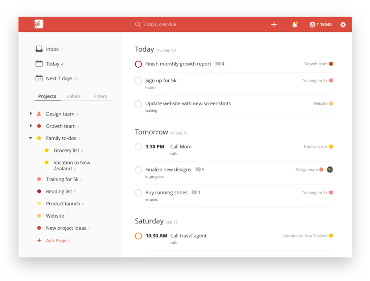The Todoist webapp
