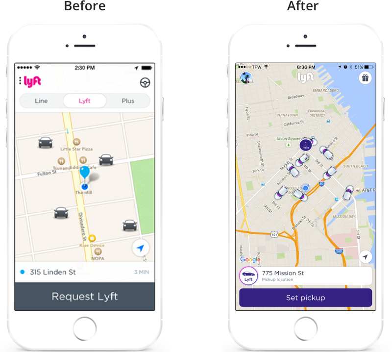 Image on the left is from pdxlyft, image on the right is a screenshot from my Lyft app