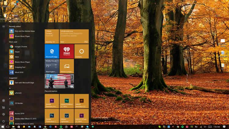 Windows10のアプリケーション・ローンチャー。Metro design languageを表示している様子。