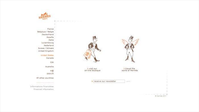 Hermesのサイトのホーム画面