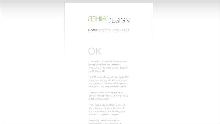 Behind Designのサイトのホーム画面