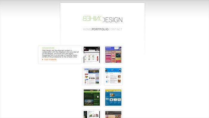 Behind Designの「ポートフォリオ」ページ