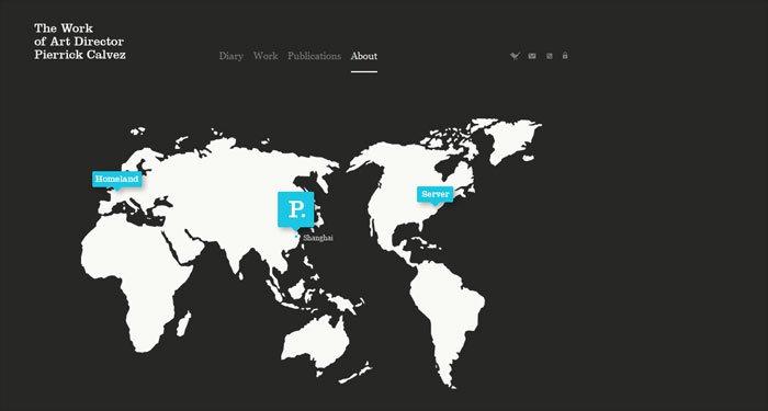 Pierrick Calvezのサイトの「企業情報」ページ
