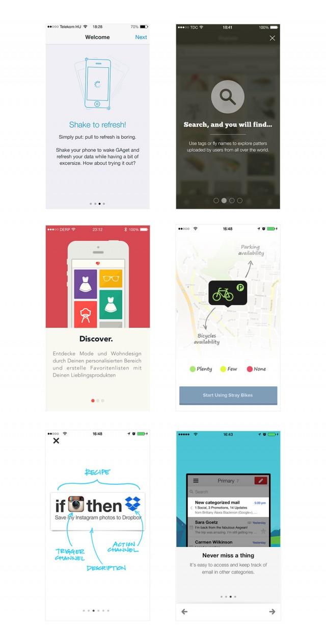 これらのシンプルなアプリケーションは、始めて使用するユーザー向けの説明を提供しています。説明書きは、できる限りシンプルかつ短くしましょう (拡大図を見る)