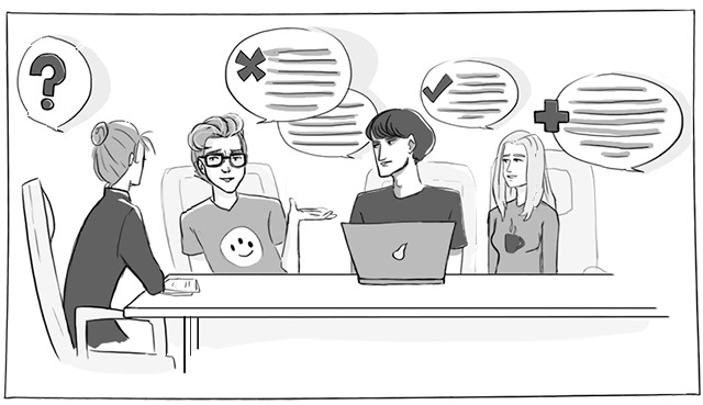 フォーカス・グループの目的は、ディスカッションや実習を通じて口頭及び文字にしたフィードバックを得て、異なるソリューションの中からプレファレンス(及びそれらプレファレンスが選ばれる理由)を探っていくことにあります。