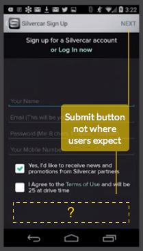 送信ボタンがユーザーが予期するところにない