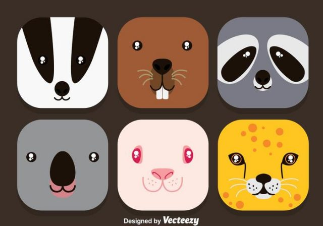 animal-face-colorful-icons-vector