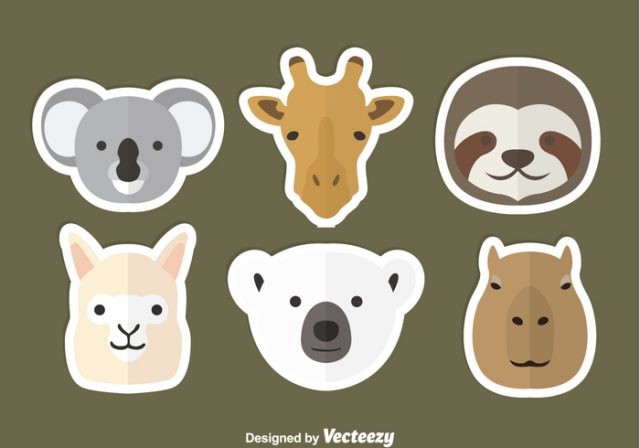animal-head-flat-icons-vector