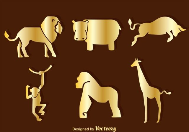 vector-gold-animals-silhouette-icons