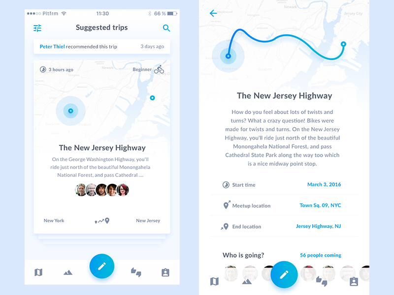 Platformが手がけた自転車用アプリのUIデザイン