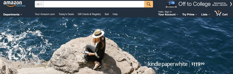 Amazon uses the typeface and colors that match those used in the global navigation, so the hero appears to be part of the site content rather than a pushy advertisement.