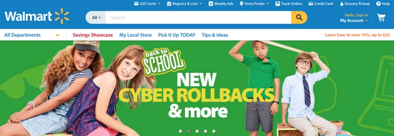 Wallmart has a carousel on thehomepage