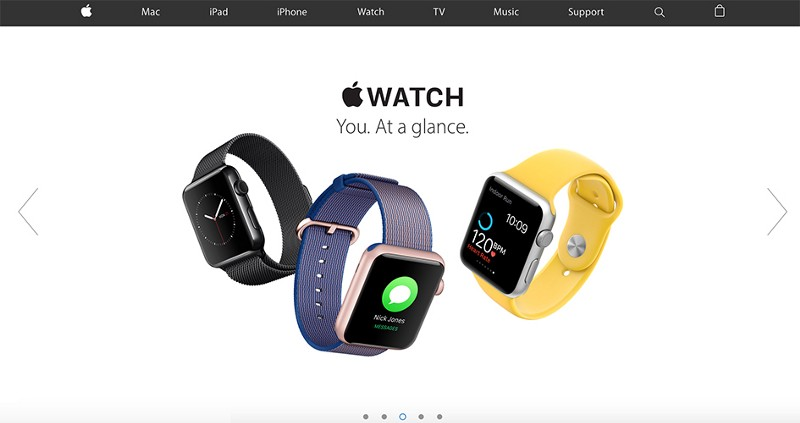 Do. Apple's homepage provides visible and easily reconginizable next / previous controls