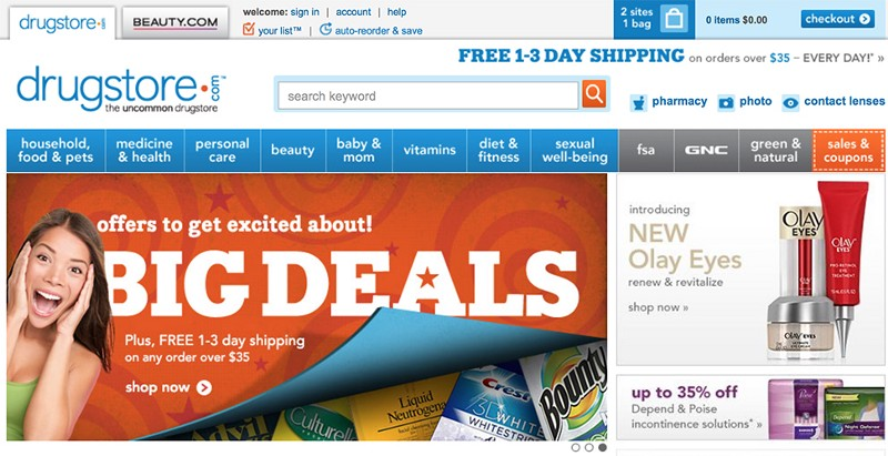 Don't. Drugstore.com uses an ad-looking content in carousel