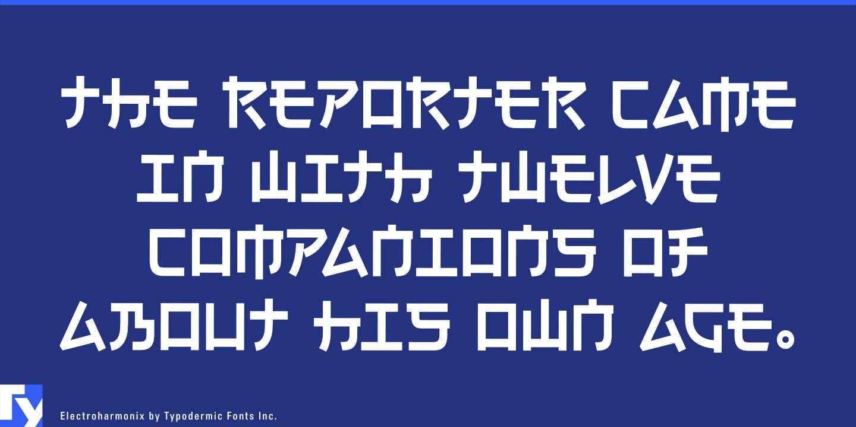 Electroharmonixの書体サンプル(Electroharmonix by Typodermic Fonts Inc.)