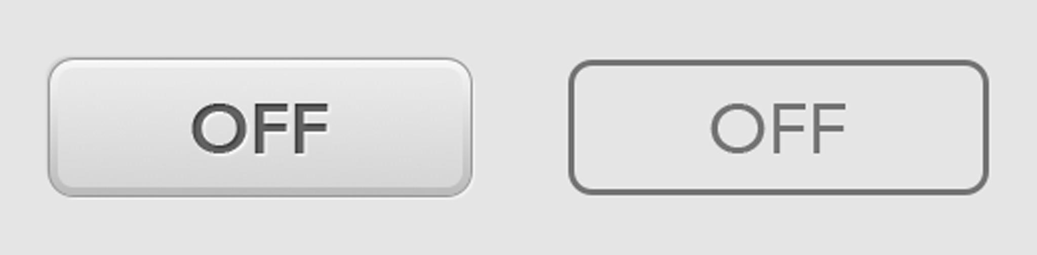 飛び出し表現のあるボタンとフラットなボタン